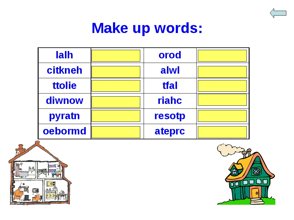 Make up words: lalh	hall	orod	door citkneh	kitchen	alwl	wall ttolie	toilet	tf...