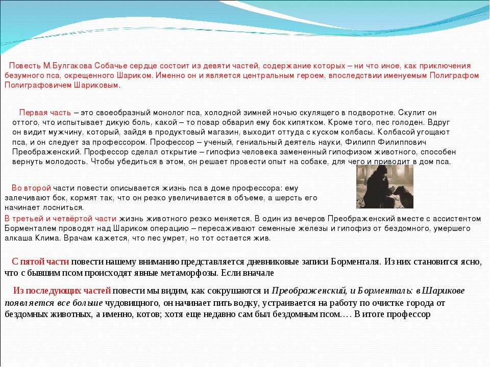 Повесть М.Булгакова Собачье сердце состоит из девяти частей, содержание кот...