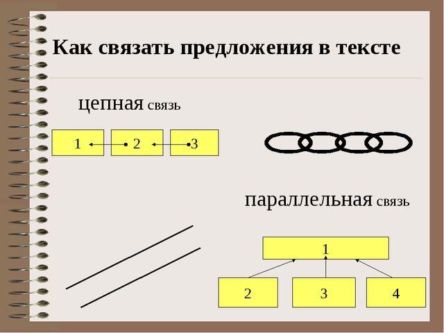 Как связать предложения в тексте цепная связь параллельная связь 1 2 4 3 1 2 3