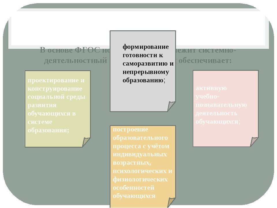 В основе ФГОС нового поколения лежит системно-деятельностный подход, который...