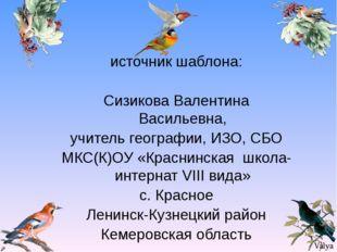 источник шаблона: Сизикова Валентина Васильевна, учитель географии, ИЗО, СБО