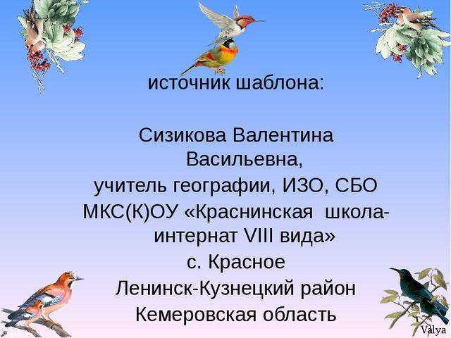 источник шаблона: Сизикова Валентина Васильевна, учитель географии, ИЗО, СБО...