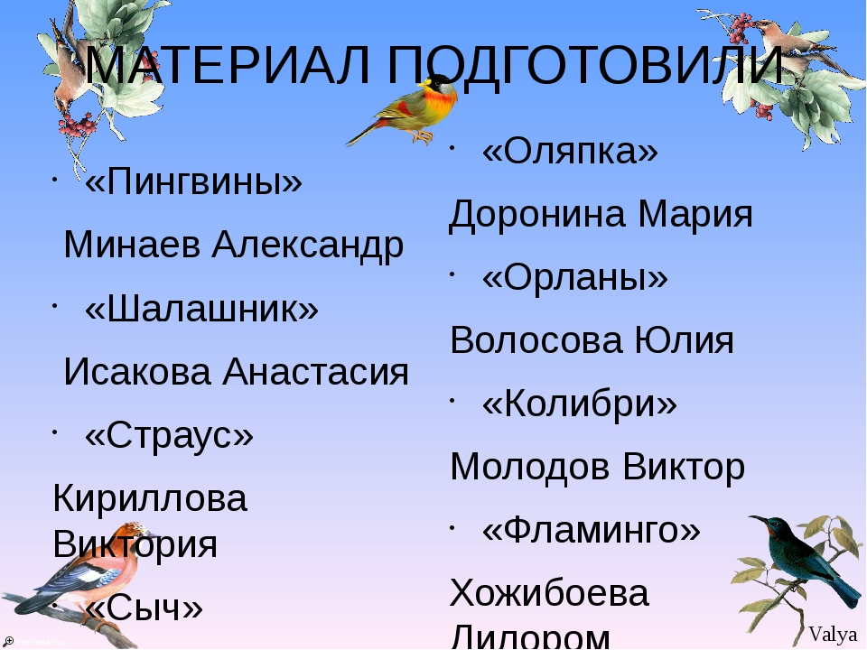 МАТЕРИАЛ ПОДГОТОВИЛИ «Пингвины» Минаев Александр «Шалашник» Исакова Анастасия...