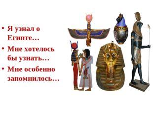 Я узнал о Египте… Мне хотелось бы узнать… Мне особенно запомнилось…