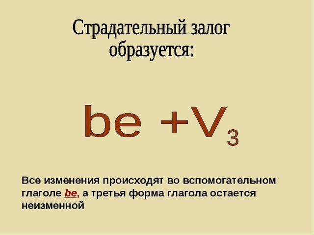 Все изменения происходят во вспомогательном глаголе be, а третья форма глагол...