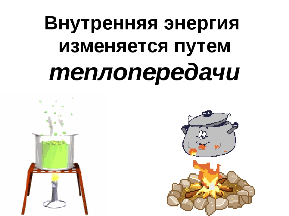 Внутренняя энергия изменяется путем теплопередачи