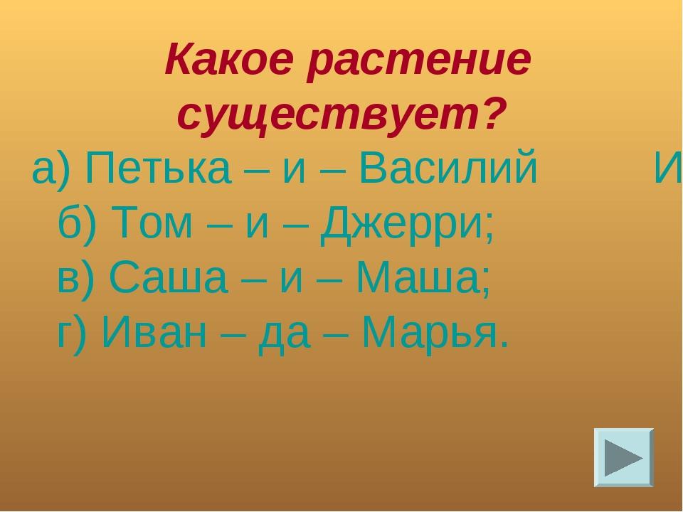 Какое растение существует? а) Петька – и – Василий Иванович; б) Том – и – Дж...