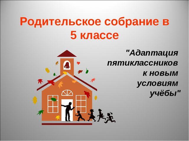 """Родительское собрание в 5 классе """"Адаптация пятиклассников к новым условиям у..."""
