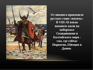 От викинга произошло русское слово «витязь». В VIII-XI веках викинги жили на