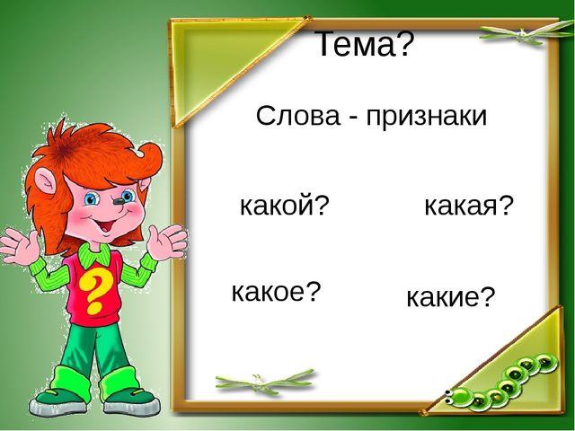Тема? Слова - признаки какой? какая? какое? какие?