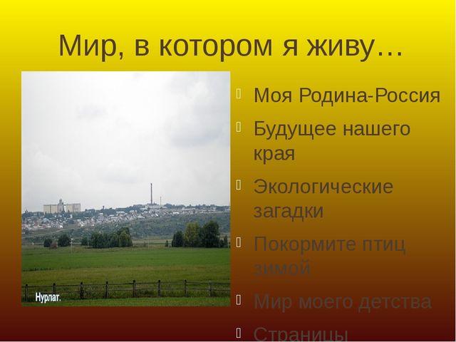 Мир, в котором я живу… Моя Родина-Россия Будущее нашего края Экологические за...