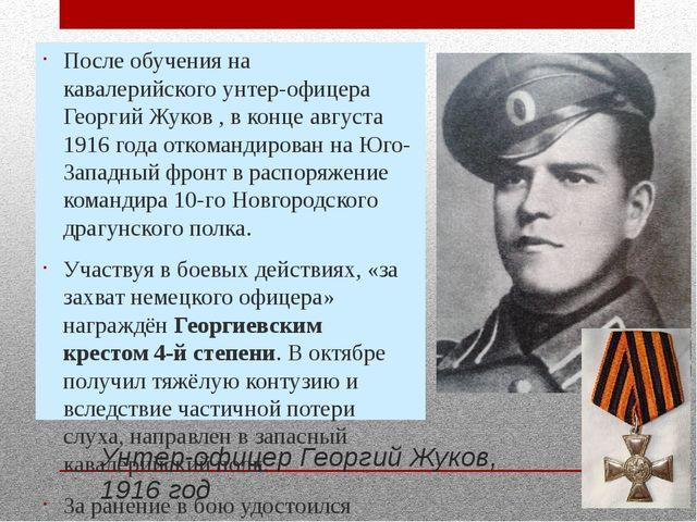После обучения на кавалерийскогоунтер-офицера Георгий Жуков , в конце август...