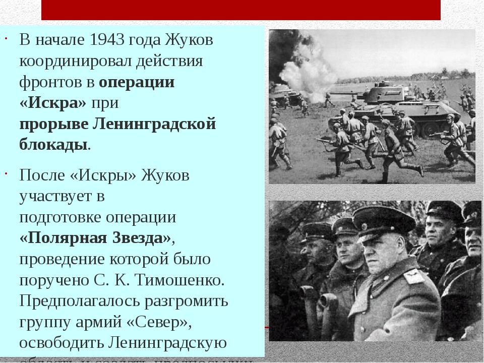 В начале 1943 года Жуков координировал действия фронтов воперации «Искра»пр...