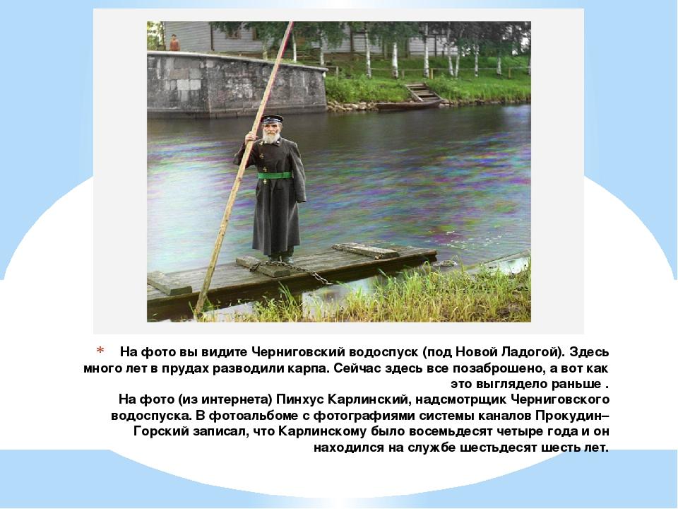 На фото вы видите Черниговский водоспуск (под Новой Ладогой). Здесь много лет...