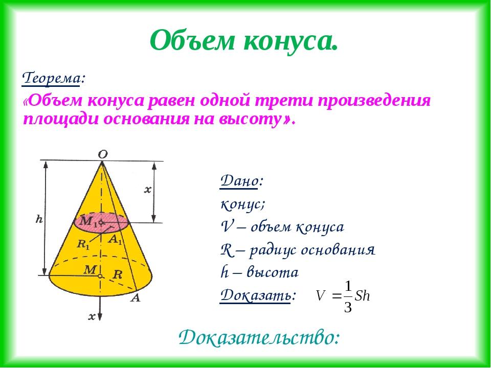 Объем конуса. Теорема: «Объем конуса равен одной трети произведения площади о...