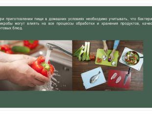 При приготовлении пищи в домашних условиях необходимо учитывать, что бактерии