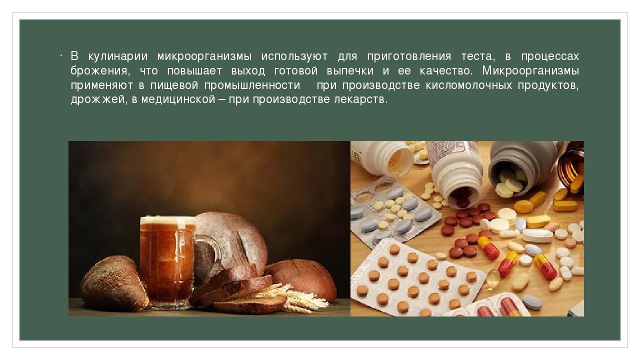 В кулинарии микроорганизмы используют для приготовления теста, в процессах бр...