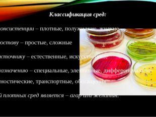 Классификация сред: По консистенции – плотные, полужидкие, жидкие По составу