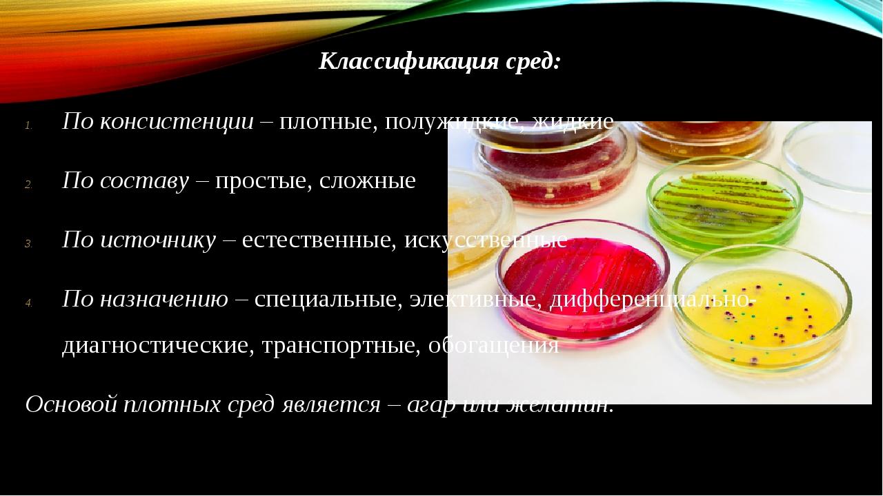 Классификация сред: По консистенции – плотные, полужидкие, жидкие По составу...