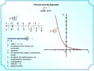 Показательная функция (a>0, a≠1) D(f)=(- ∞;+ ∞); не является ни четной, ни не