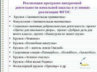 Реализация программ внеурочной деятельности начальной школы в условиях реализ