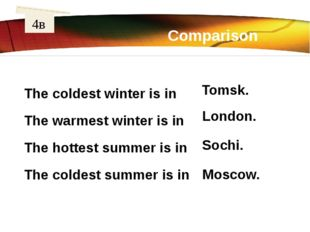 Comparison 4в The coldest winter is in The warmest winter is in The hottest s