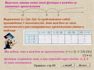 « назад далее» -2 3 5 Выясним, каковы знаки этой функции в каждом из указанны