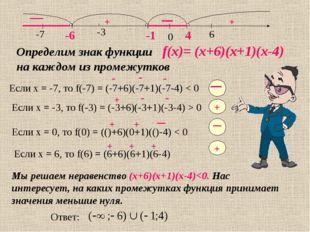 -6 -1 4 Определим знак функции f(x)= (х+6)(х+1)(х-4) на каждом из промежутков