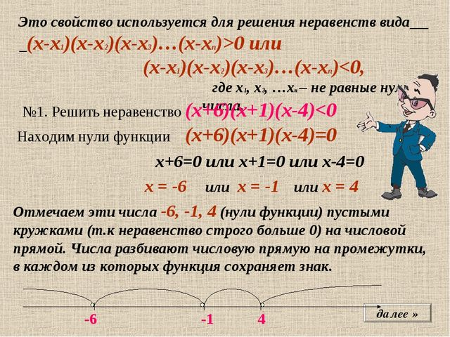 далее » Это свойство используется для решения неравенств вида (х-х1)(х-х2)(х-...
