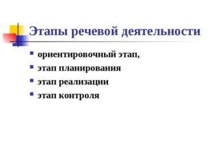 Этапы речевой деятельности ориентировочный этап, этап планирования этап реали
