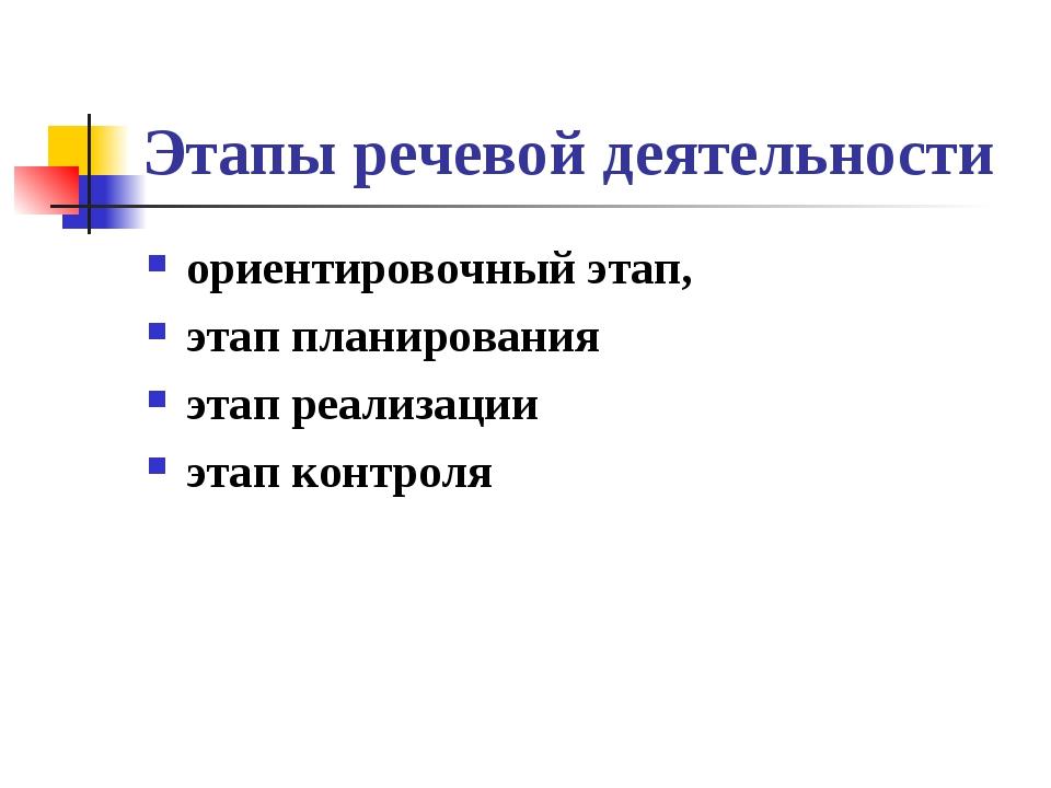 Этапы речевой деятельности ориентировочный этап, этап планирования этап реали...