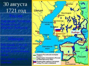 30 августа 1721 год Ништадт Лифляндия Эстляндия Ингрия Выборг Россия Лифлянди