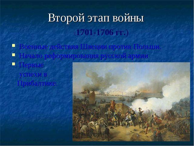 Второй этап войны Военные действия Швеции против Польши. Начало реформировани...
