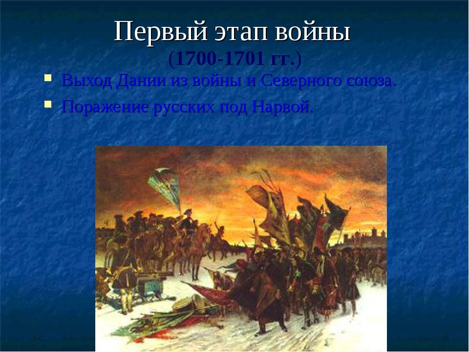Первый этап войны Выход Дании из войны и Северного союза. Поражение русских п...