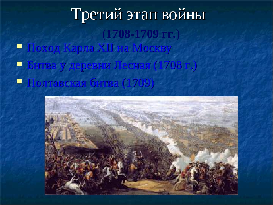Третий этап войны Поход Карла XII на Москву Битва у деревни Лесная (1708 г.)...