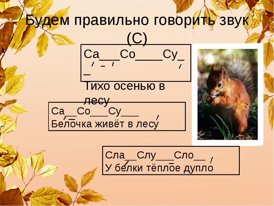 Будем правильно говорить звук (С) Са___Со____Су__ Тихо осенью в лесу Са__Со__...