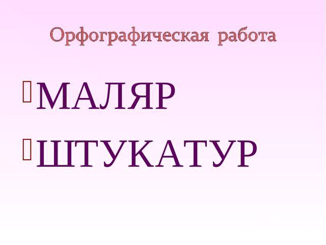 МАЛЯР ШТУКАТУР