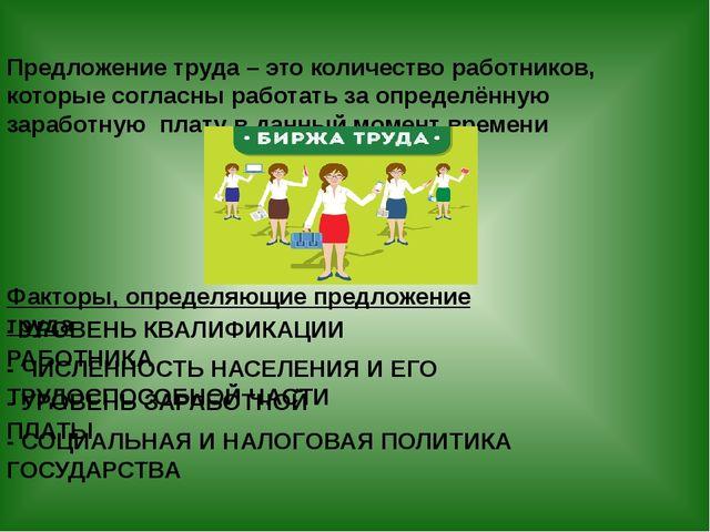 Факторы, определяющие предложение труда - УРОВЕНЬ КВАЛИФИКАЦИИ РАБОТНИКА - ЧИ...