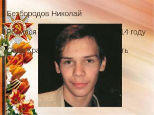 Безбородов Николай Родился в 1998 году Погиб в 2014 году Село Крапивна, Тульс