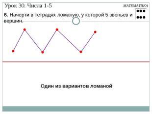 6. Начерти в тетрадях ломаную, у которой 5 звеньев и вершин. МАТЕМАТИКА Один