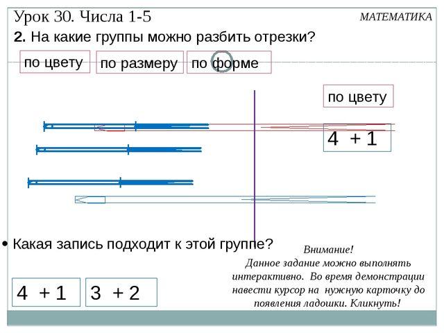 МАТЕМАТИКА Урок 30. Числа 1-5 2. На какие группы можно разбить отрезки? 4 + 1...