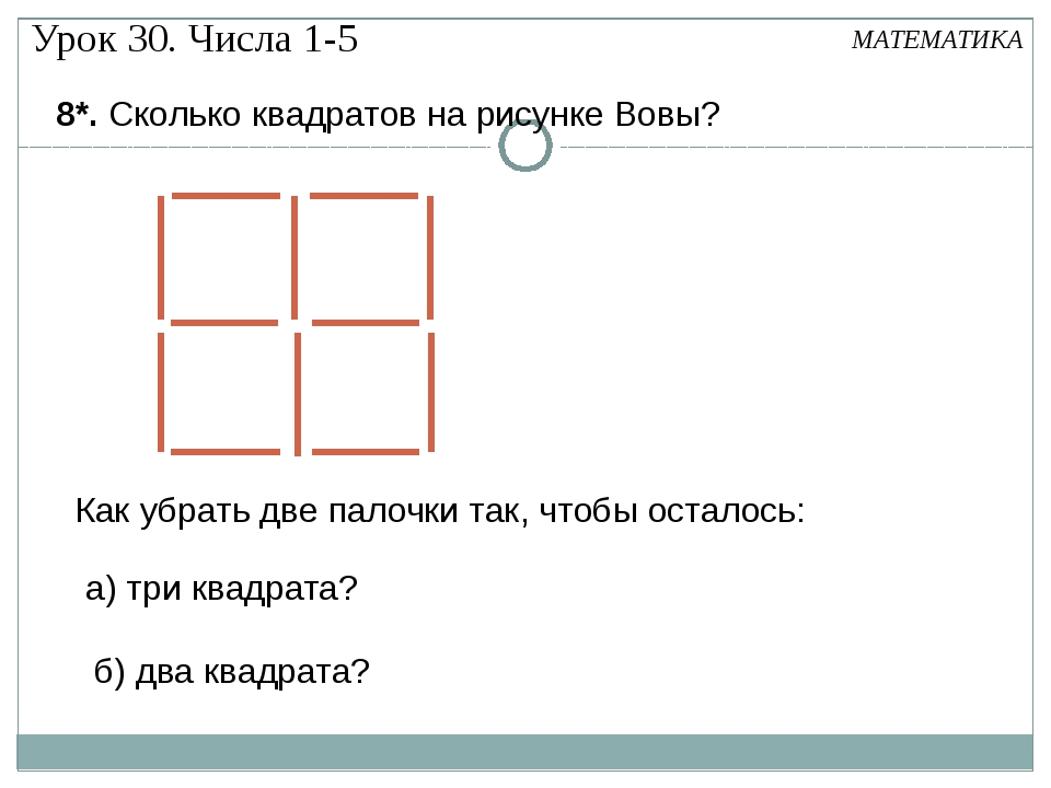 8*. Сколько квадратов на рисунке Вовы? МАТЕМАТИКА Как убрать две палочки так,...