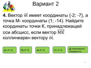 Вариант 2 * в) (5; 0) д) невозможно определить б) (4; 0) г) (-3; 0) а) (-5; 0)