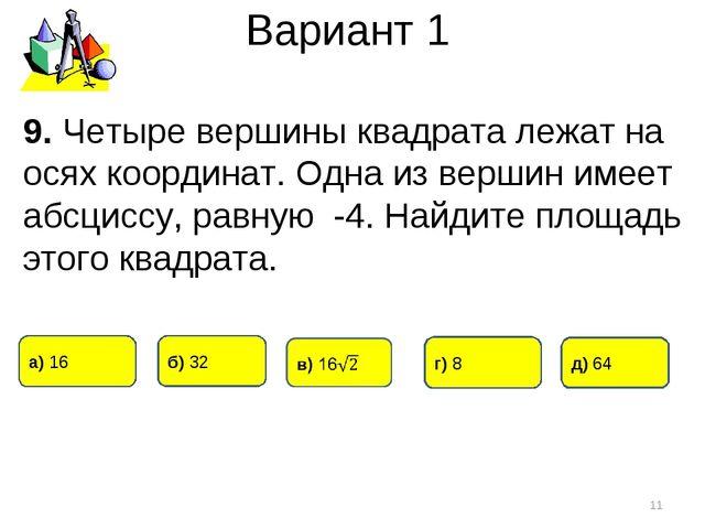 Вариант 1 * 9. Четыре вершины квадрата лежат на осях координат. Одна из верши...
