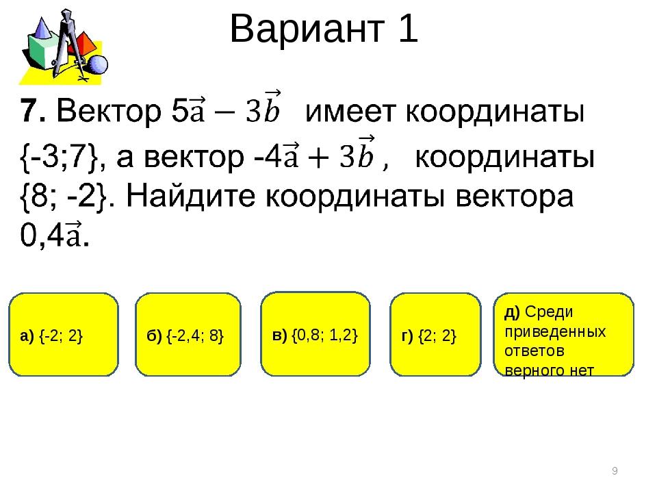 Вариант 1 * г) {2; 2} а) {-2; 2} б) {-2,4; 8} д) Среди приведенных ответов ве...