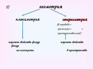геометрия планиметрия стереометрия (в переводе с греческого «ςτερεος»- прост