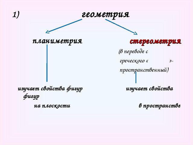 геометрия планиметрия стереометрия (в переводе с греческого «ςτερεος»- прост...