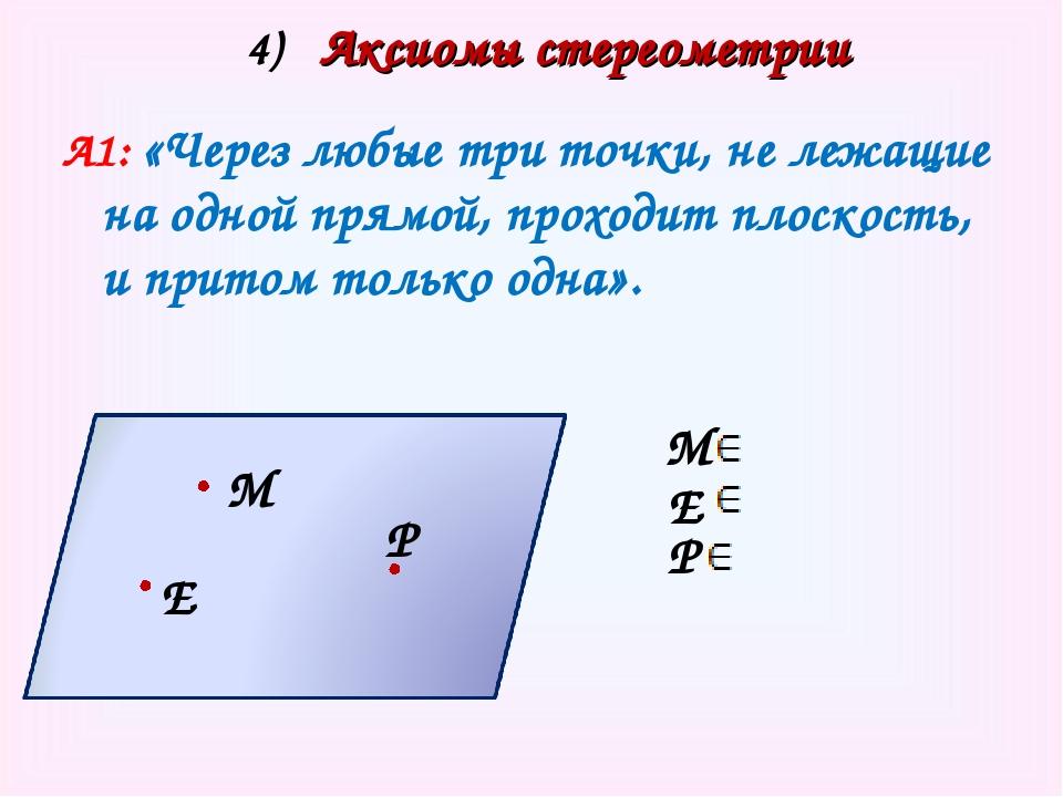 4) Аксиомы стереометрии А1: «Через любые три точки, не лежащие на одной прям...