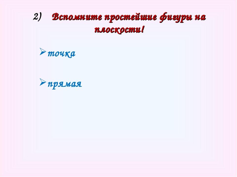 2) Вспомните простейшие фигуры на плоскости! точка прямая