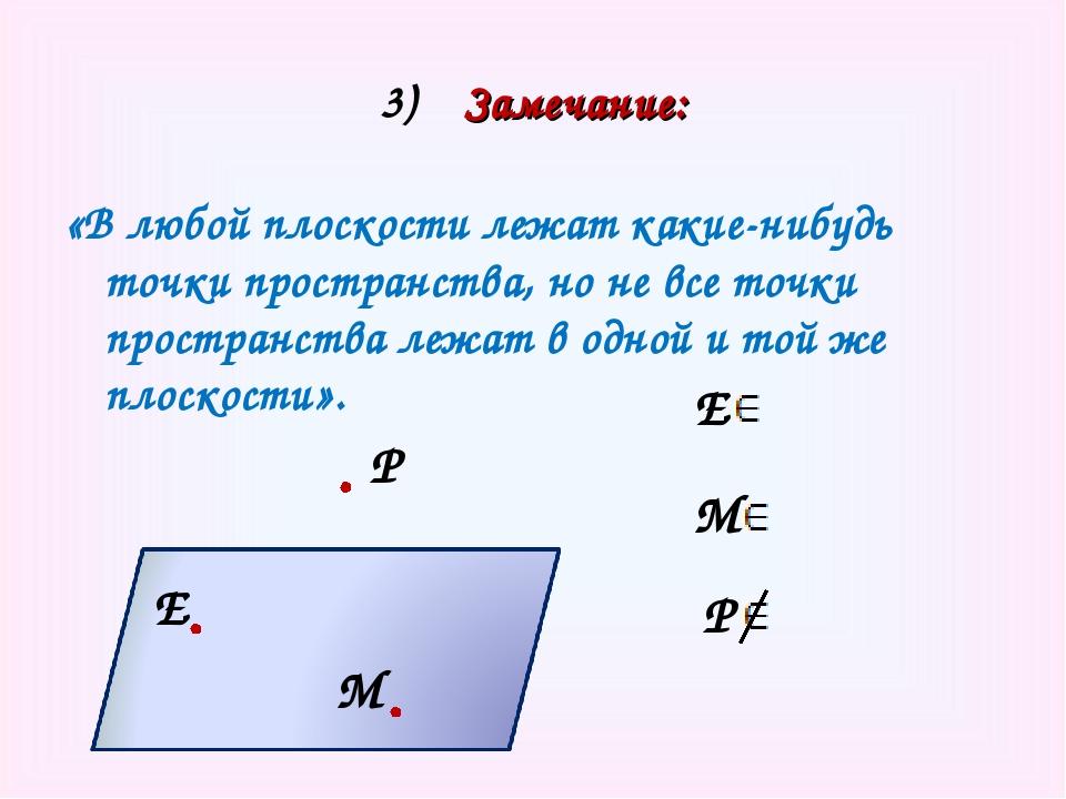 3) Замечание: «В любой плоскости лежат какие-нибудь точки пространства, но не...